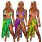 Fashionable bikini printed beach three piece set