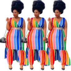 Striped print V-neck sexy dress