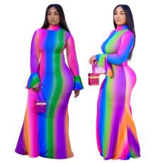 Fashion trumpet sleeve long dress