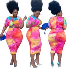 Tie dye printed skirt suit