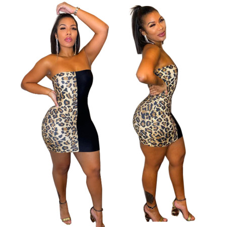 Sexy chest wrapped Leopard Dress