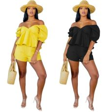Sexy solid Ruffle short sleeve two piece set