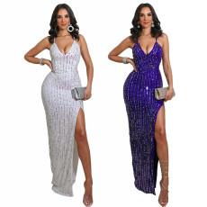 Sexy open back lace split Sequin dress