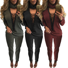 Sexy V-neck cut out collar bandage fashion suit