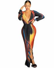 Sexy Print Long Sleeve Dress