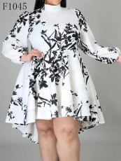 Irregular long sleeve print dress