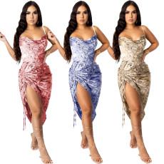 Sexy open back drawstring Printed Dress Dress