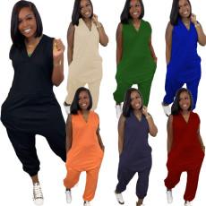 Solid color fashion casual Jumpsuit
