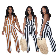 Fashion casual print tie up sexy Jumpsuit
