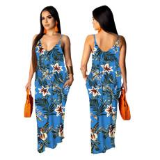 Casual loose sleeveless V-neck dress
