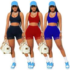 Solid lace sports vest Shorts Set