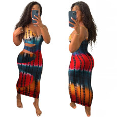 Sexy fashion cut out stained Printed Dress