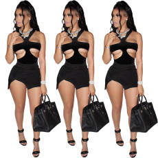 Cut out breast wrapped tight miniskirt dress