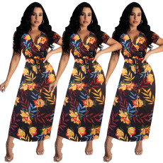 Print casual double V-neck dress
