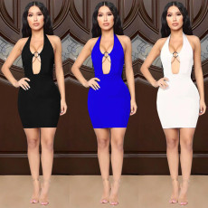 Fashion casual solid color sexy dress