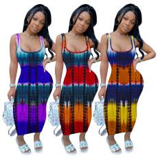 Solid stitched vest dress
