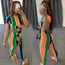Striped thread short sleeve lace up two piece set