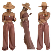 Two piece sexy chest wrapped wide leg pants