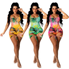 Two piece swimsuit with casual print