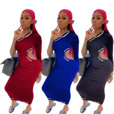 Fashion leisure single sleeve letter hollow dress