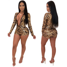 Sequin sexy V-Neck long sleeve Jumpsuit