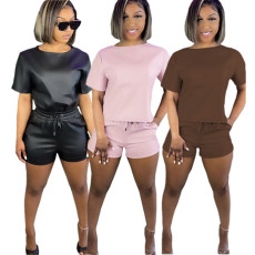 Casual PU leather short sleeve suit