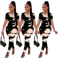 Fashion round neck matching print Jumpsuit