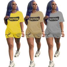 Fashion print Casual Short Sleeve shorts suit