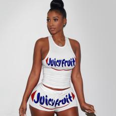 Printed vest shorts sports suit