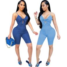 Fashion bowknot suspender Jumpsuit