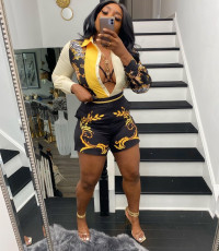 Sexy positioning print cardigan shorts suit