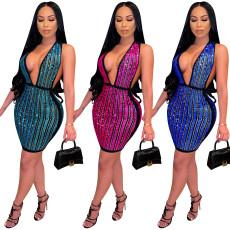 Sexy deep V ironed Diamond Dress