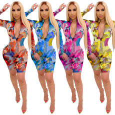 Fashion color printing long sleeve casual Jumpsuit
