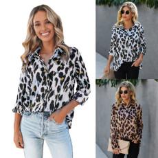 Fashionable Leopard Print button blouse