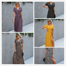 Fashion leopard print lace up dress