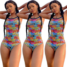 Printed fashion sexy one piece swimsuit
