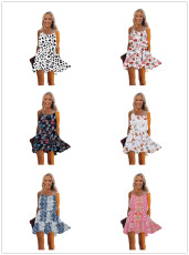 Printed lace up Chiffon suspender dress