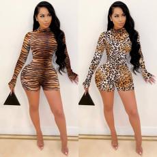 Sexy long sleeve leopard Jumpsuit