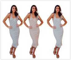 Fashionable striped crew neck vest dress