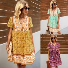 Bohemian print loose Short Sleeve Dress