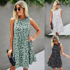 Polka Dot pocket sleeveless round neck dress