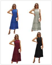 Plain pleated sleeveless mid length dress
