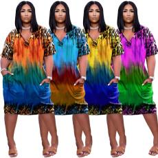 Leopard print gradient loose V-neck dress