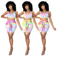 Fashion sexy casual color printing suit