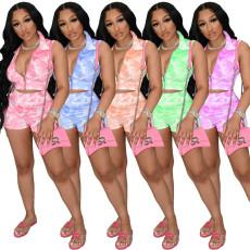 Two piece sleeveless zipper shorts