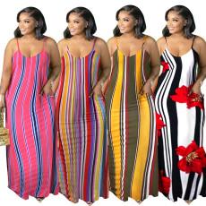 Drawstring open back print loose dress
