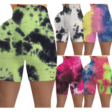 Tie dyed pineapple high waist fitness shorts