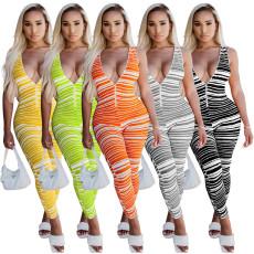 Fashion deep V-neck striped Jumpsuit