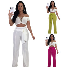 Fashion high waist straight casual pants (single pants)