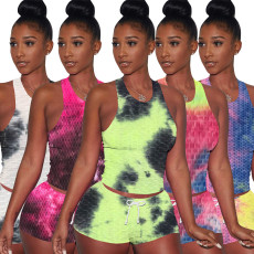 Pineapple vest sports tie dyeing two piece set